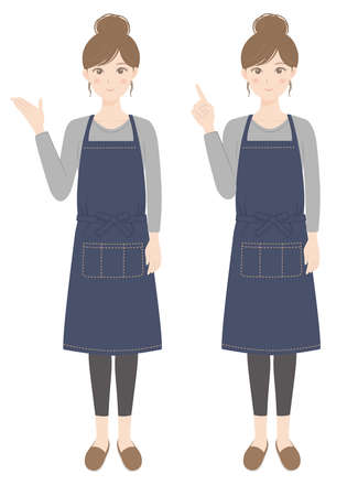 A woman in an apron who is guiding A woman in an apron pointing her finger