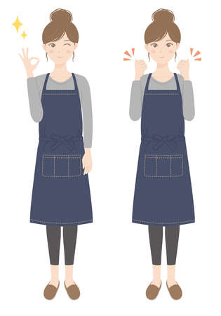 A woman in an apron doing an OK pose A woman in an apron doing a guts pose