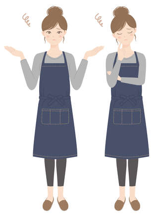 A woman in an apron thinking A woman in an apron in trouble