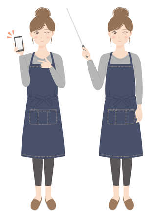 A woman in an apron with a smartphone A woman in an apron explaining with a pointer