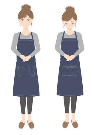 Woman in an apron bowing Woman in a standing apron Illusztráció