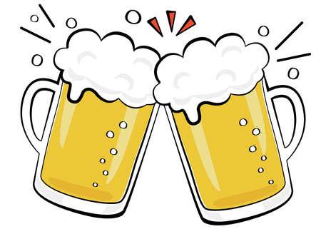 Alcoholic drink toast with beer Ilustracje wektorowe