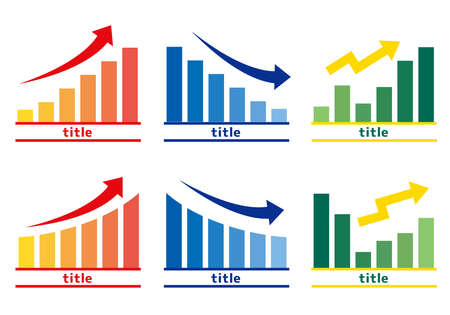 Bar graph illustration (up and down)  Can be used for business materials and school materials