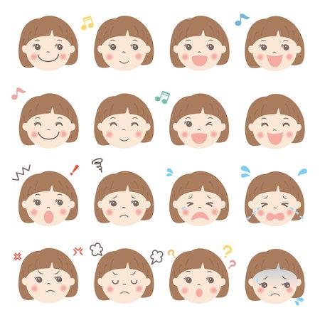 Child's facial expression illustration set (girl)