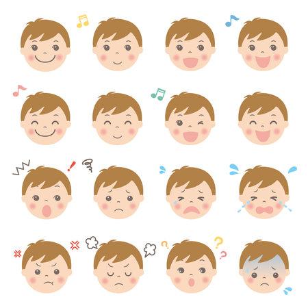 Child's facial expression illustration set (boy)