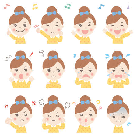 Various facial expressions of children set (upper body) girl