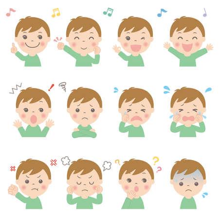 Various facial expressions for children (upper body) Boys