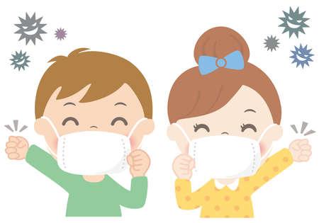 Boys and girls wearing masks