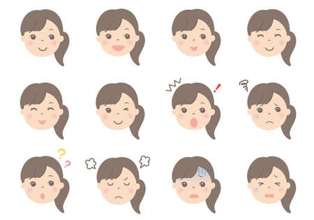 Female face illustrations (various facial expressions)