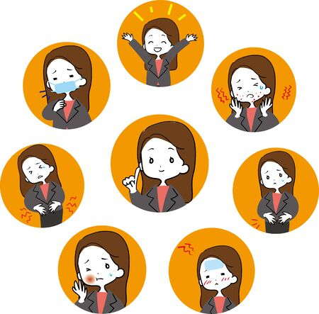 Sick Business Woman Icon Stock Illustratie