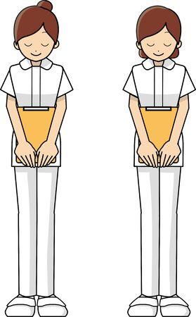 Full body diagram of a nurse bowing 일러스트