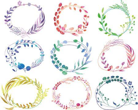 Watercolor botanical wreath-style decoration frame Vetores