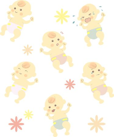 babys various facial expression set