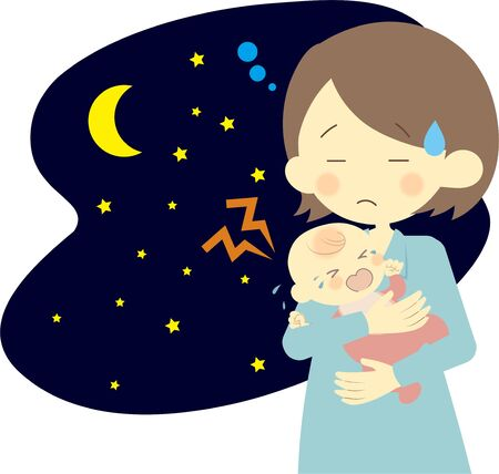 Baby crying at night and mother in trouble  イラスト・ベクター素材
