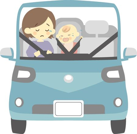 Crying baby and mom driving