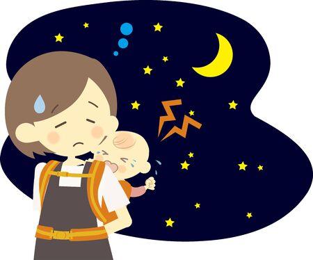 Bebé llorando por la noche y madre en problemas Ilustración de vector