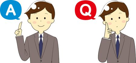 Illustration of icons and people used for questions and answers and guidance Illustration