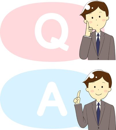 Illustration of icons and people used for questions and answers and guidance Çizim