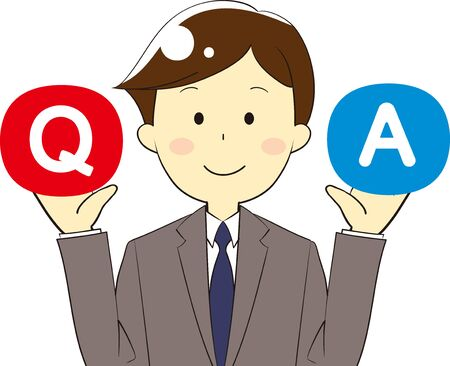 Illustration of icons and people used for questions and answers and guidance