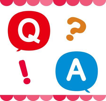 Un conjunto de íconos de preguntas y respuestas e íconos y decoraciones que se pueden usar para preguntas y respuestas Ilustración de vector