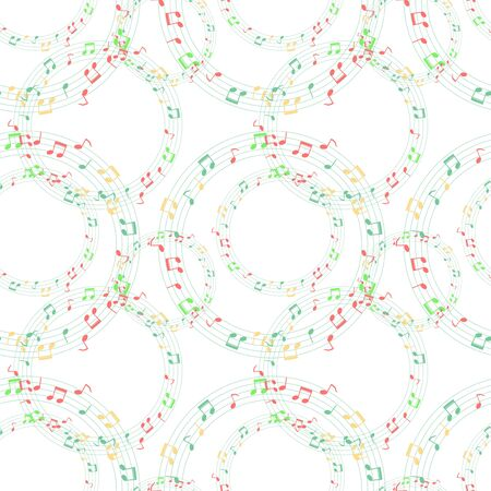 Colorful music notes seamless pattern