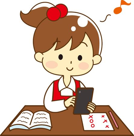 Illustration of child addicted to tablet