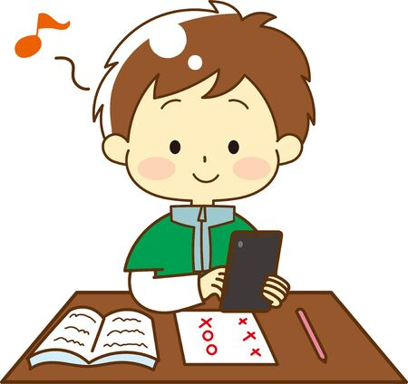 Illustration of child addicted to tablet Ilustrace