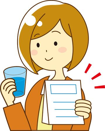 Illustration of a woman drinking medicine with water