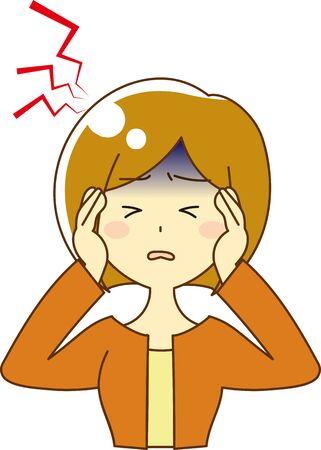 Illustration of a Woman Suffering from a Headache Иллюстрация