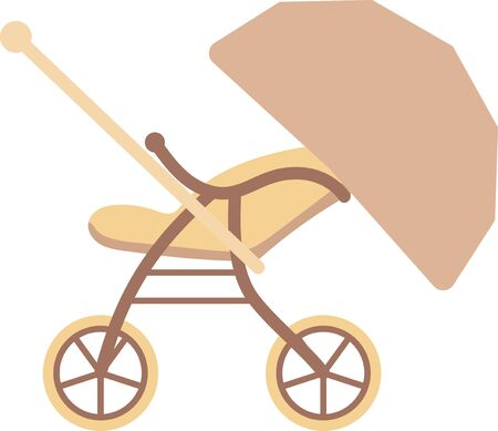 A simple illustration of a baby stroller seen from the side  イラスト・ベクター素材