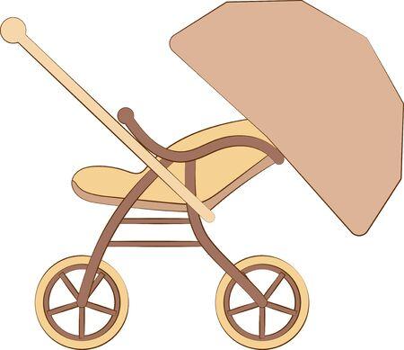 A simple illustration of a baby stroller seen from the side Ilustração