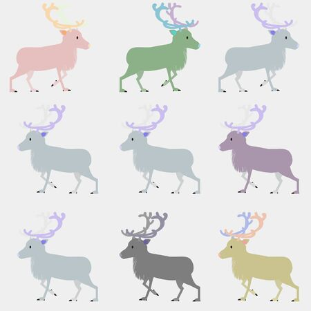 Simple reindeer illustration, colorful background pattern