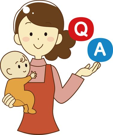Q & A icon set of woman holding baby
