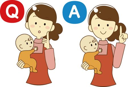 Q & A icon set of woman holding baby 矢量图像