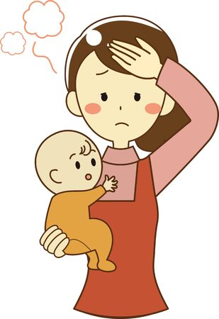 A mother who has a fever and is in poor health Ilustração