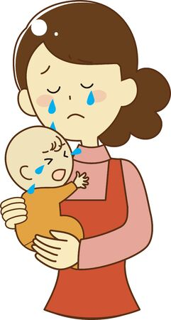 Mother holding her baby and getting sad