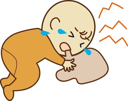 Illustration of a baby who vomits and cry