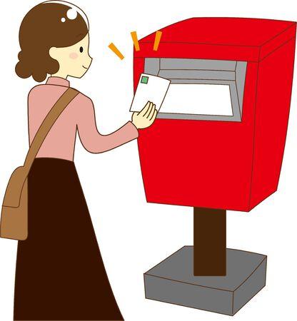 Illustration of putting a letter in a post box Archivio Fotografico - 133495031