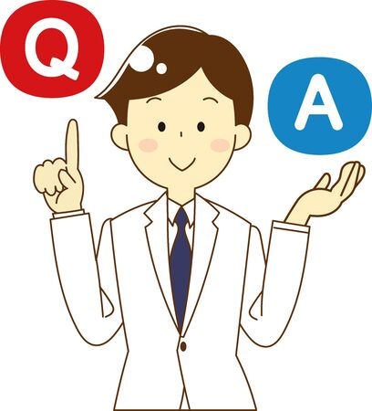 Illustration of doctor with question and answer icon