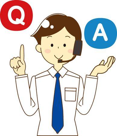 Call center man and question and answer icon