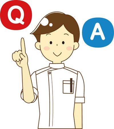 Male nurse and question and answer icon