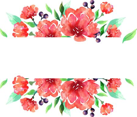 Illustration of roses using watercolor blots and textures