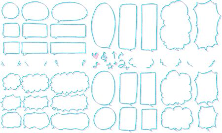 Hand drawn rough and cute speech bubble set