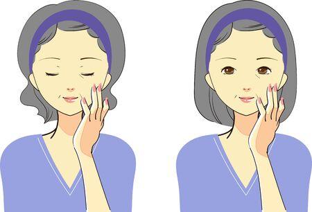 Set of gestures for women who care for skin Standard-Bild - 134750053