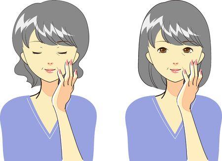 Set of gestures for women who care for skin Standard-Bild - 134750055