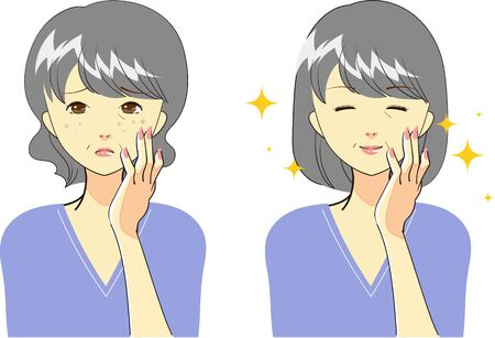 Set of gestures for woman who cares for skin