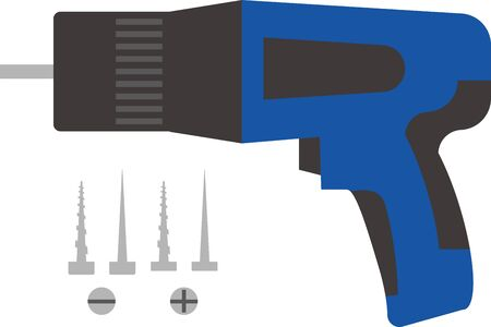 Electric drill and screw illustration