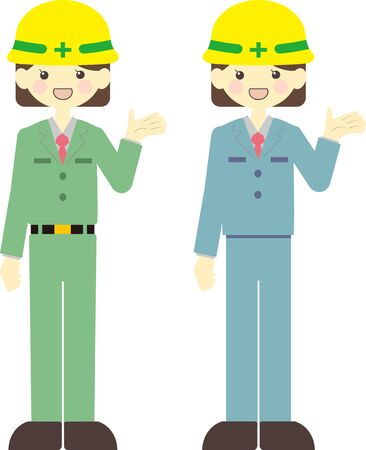 A woman wearing a helmet and guiding Illustration