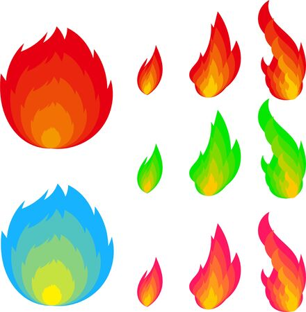 Illustration of flames of various colors