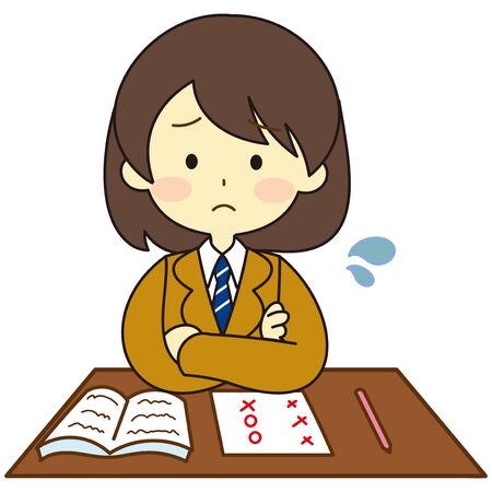 Illustration of a confused child who does not understand study Vectores